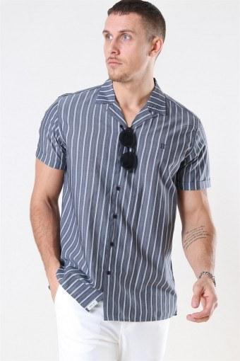 Mathieu SS Overhemd Charcoal/Petrol Blue