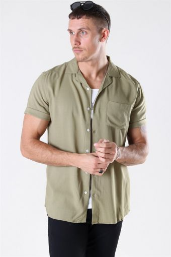 Silo Solid Viscose Overhemd S/S Dried Herb