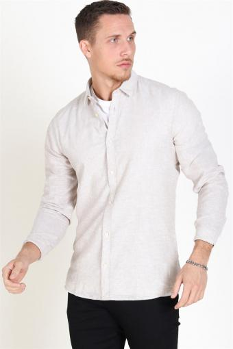 Caiden LS Solid Linen Overhemd Chinchilla