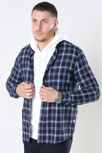Johan Pocket Flannel Check Navy
