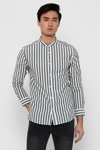 ONSMATTHEW LIFELS STRIPE MANDARINE SHIRT Dark Navy