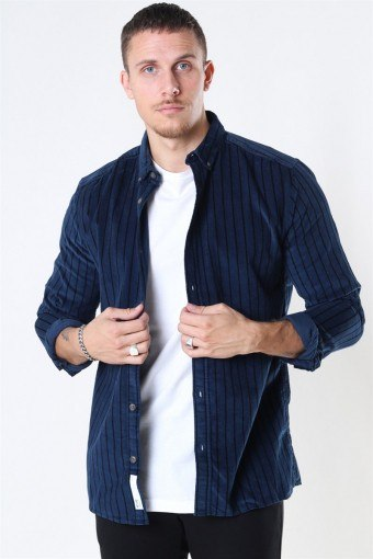 Edward Striped Corduroy Overhemd Dress Blues