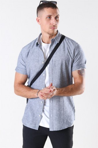 Caiden S/S Linen Overhemd Dress Blues